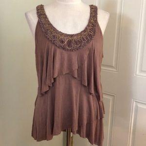 Mocha brown gold ruffle tiered blouse tank top